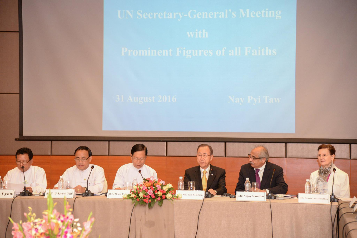 United Nations Secretary General Ban Ki-moon meets with interfaith leaders on Wednesday in Naypyidaw. (Photo: United Nations Information Center)