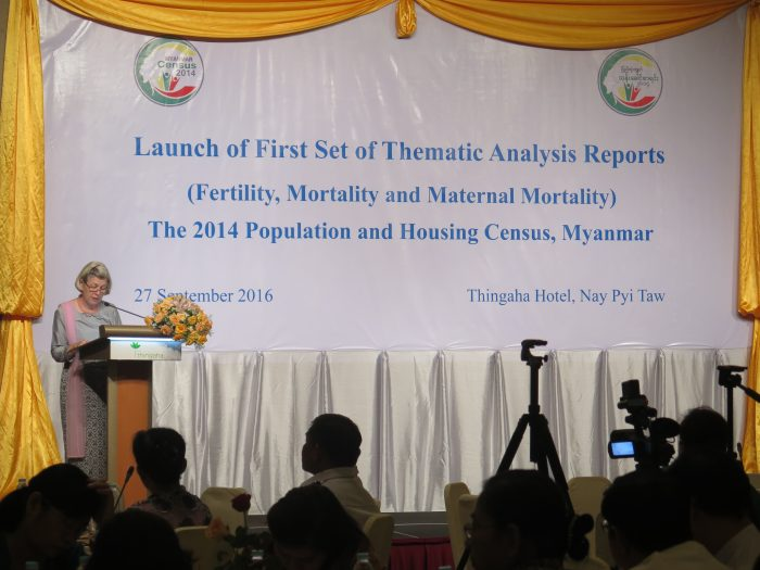 The launch of the Thematic Report on Fertility and Nuptiality on Tuesday in Naypyidaw. (Photo: Htet Naing Zaw / The Irrawaddy)
