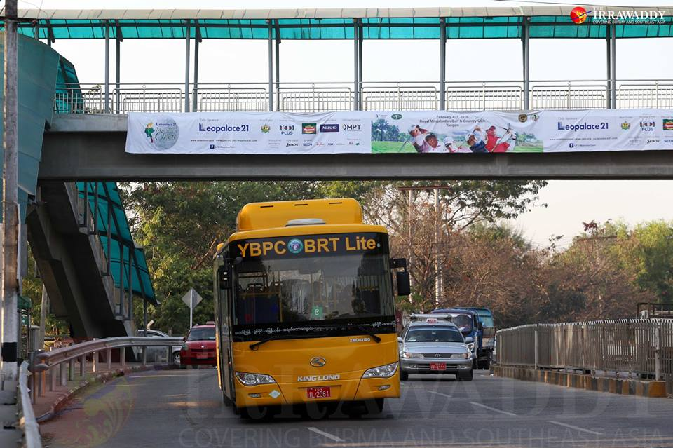 Rangoon's shiny new BRT buses, introduced in February this year. (Photo: Pyay Kyaw / The Irrawaddy)