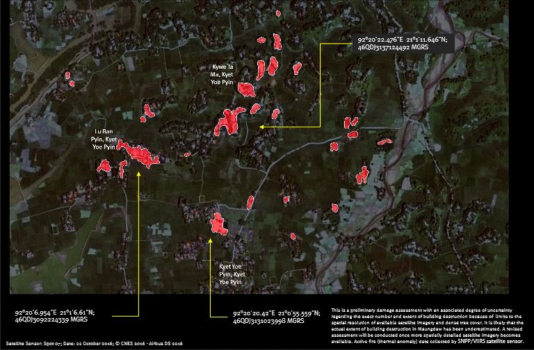 Satellite imagery purports to show areas of fire damage in Maungdaw Township (Photo: Human Rights Watch)