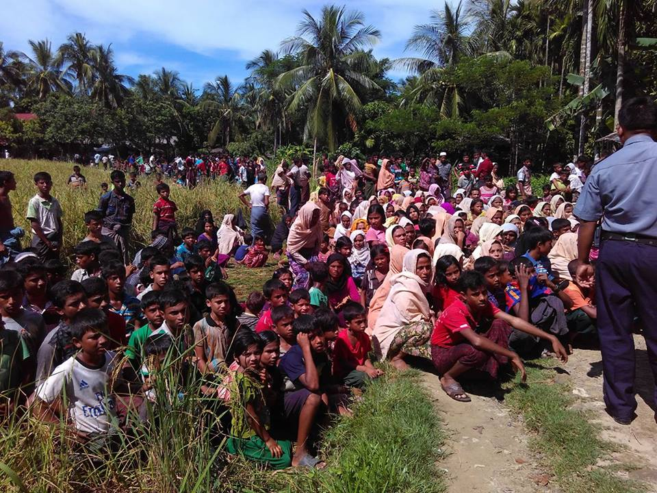 Muslim residents of Kyee Kan Pyin village of Maungdaw Township wait to meet with the international delegation. (Photo: Ko Aung)