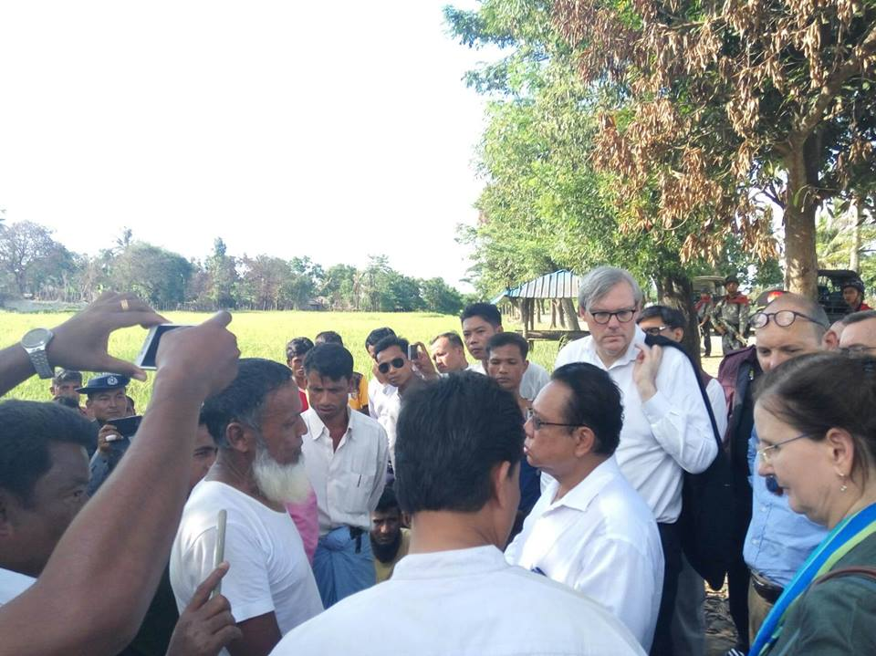 Foreign Ambassadors and United Nations officials meet residents of rural Maungdaw township. (Photo RCM / Facebook)