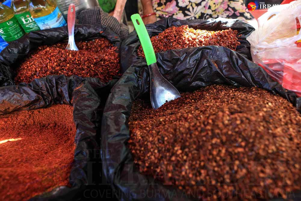 Ground chili, widely used by Burmese, for sale in Rangoon. (Photo: J Paing / The Irrawaddy)