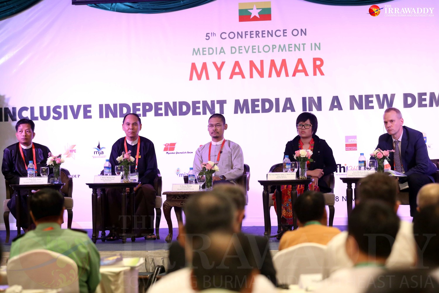 A panel speaks at the fifth media development conference in Rangoon on Monday.