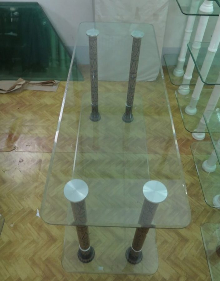 Two-tier glass table designed by Daw Aung San Suu Kyi. (Photo: Htet Naing Zaw / The Irrawaddy)