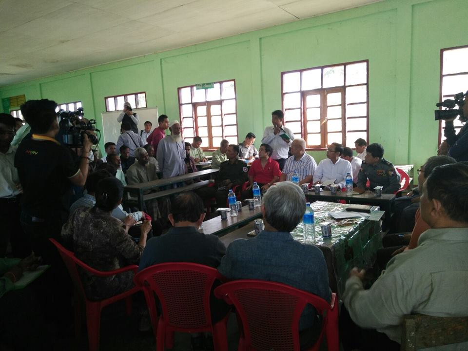 Investigation commission members met with Nga Khu Ya villagers in Maungdaw Township. (Photo: RMC / Facebook)