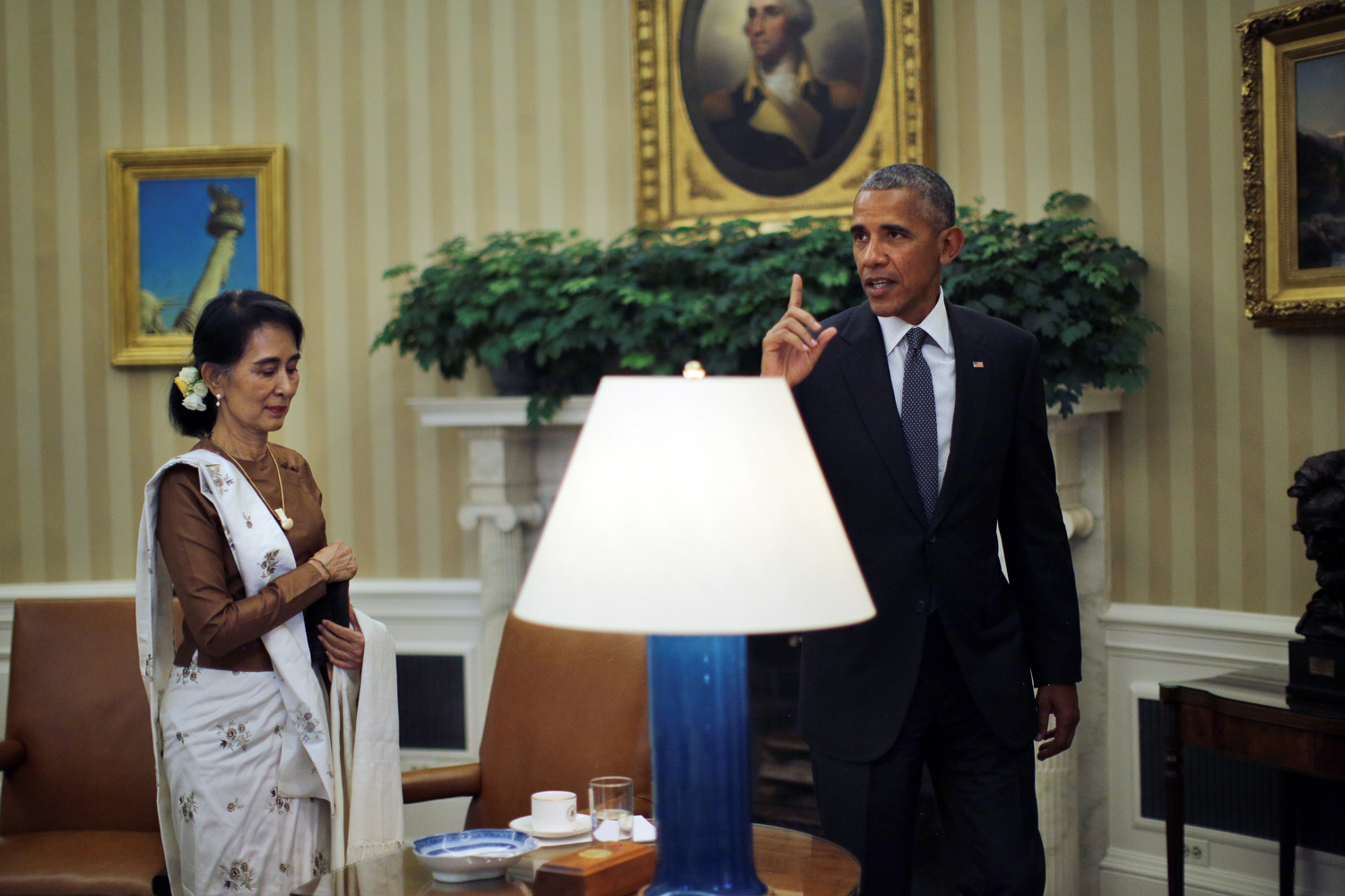 the biggest stories of  u s president barack obama meets myanmar s state counsellor aung san suu kyi at the oval office of the white house in washington d c u s