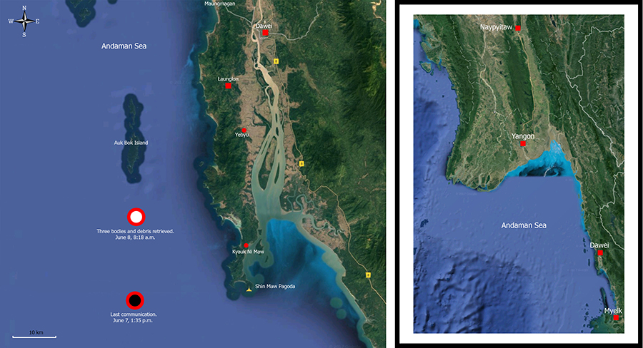Myanmar Military Transporter Crashes into Andaman Sea