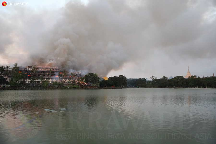At least 1 injured in lakeside hotel fire in Myanmar's Yangon
