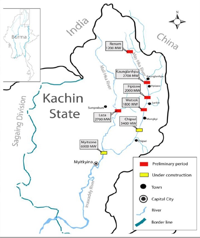 Why Is China In a Hurry to Revive the Myitsone Dam Projects? Kachin State Myanmar Map on northern california state counties map, karen state myanmar map, kayin state myanmar map, northern part of united states map, mon state myanmar map, rakhine state myanmar map, chin state myanmar map,