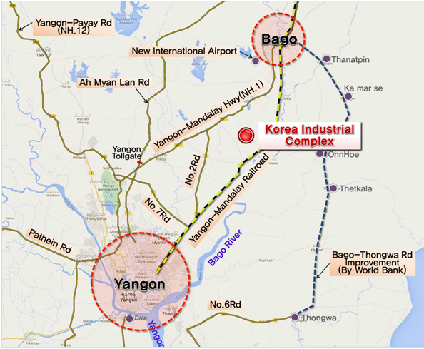 Myanmar, Korea to Build Industrial Facility North of Yangon on jeddah world map, vladivostok world map, oran world map, hanoi world map, yaounde world map, ho chi minh city world map, saint petersburg world map, fujairah world map, shwedagon pagoda world map, lahore world map, rangoon map, chengdu world map, lashio world map, fukuoka world map, hue world map, kunming world map, phoenix world map, phnom phen world map, surabaya world map, dili world map,